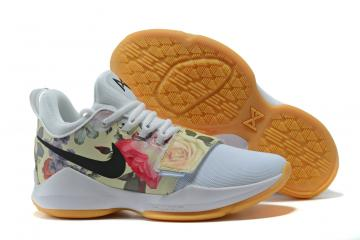 2ca0d6b69 Nike Zoom PG 1 Paul George Men Basketball Shoes White Flower Balck 878628