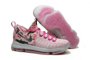 online store 4d192 b0beb Nike KD 9 Kevin Durant Men Basketball Shoes Pink Silver Flower Black 843392