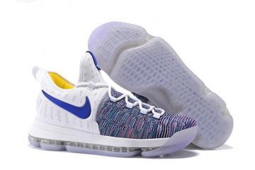 595943f1b9c2 Nike Zoom KD 9 EP IX Kevin Durant Men Basketball Shoes White Blue Multi  Color 843392