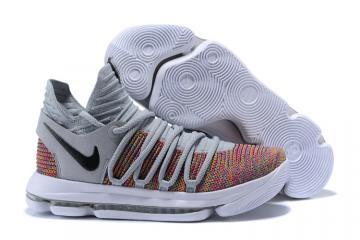 f97736fa66d9 Nike Zoom KD X 10 Men Basketball Shoes Grey Deep Orange Black New