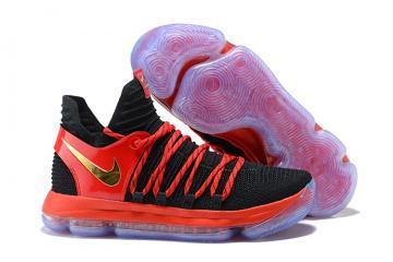 0b9fa5374cf3 Nike Zoom KD X 10 Men Basketball Shoes Black Red Gold New