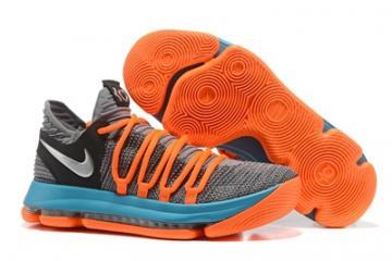 ed8cf34c7427 Nike Zoom KD X 10 Men Basketball Shoes Wolf Grey Orange Blue