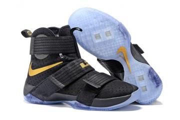94893b733c55 Nike Lebron Soldier 10 EP Basketball Shoes 2016 Finals Black Gold 844375-806