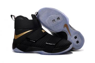 e110d232d8b7 Nike Lebron Soldier 10 X MVP Gold Black Chanmpionship Basketball Shoes Men  Sneaker 844378