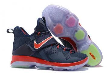 be4325141194e1 Nike Zoom Lebron XIV 14 Navy Blue Red Men Basketball Shoes 921084