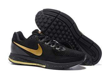 6172192ebfb7 Nike Air Zoom Pegasus 34 Leather Black Metal Gold Men Running Shoes  Sneakers 831351