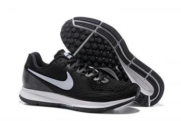 a58e7e59b78fc Nike Air Zoom Pegasus 34 Leather Black White Men Running Shoes Sneakers  831351