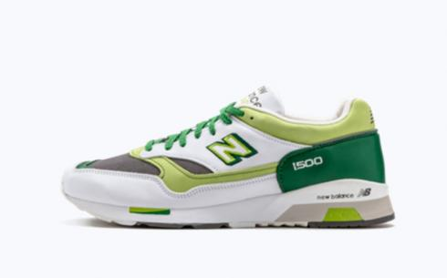 New Balance M1500 White Green Line Athletic Shoes