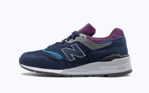 New Balance M997 Navy Purple Grey Athletic Shoes