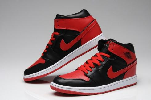 Nike Air Jordan I 1 Retro High Shoes Leather Black Red 555088-001