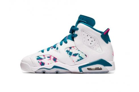 Air Jordan 6 GS Green Abyss White Laser Fuchsia 543390-153