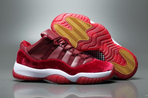 Nike Air Jordan XI 11 Retro Low Velvet Heiress Basketball Shoes Night  Maroon Metallic Gold - Febbuy 06fda6bc8