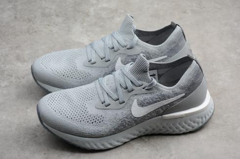 6b476e43507e9 Nike EPIC React Flyknit Running Shoes Light Grey AQ0070-002 Item No. AQ0070 -002