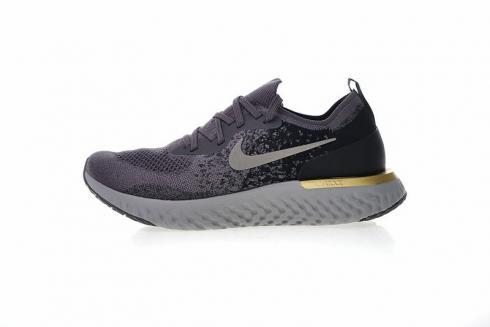 Nike Epic React Flyknit Grey Black Gold Running Shoes AQ0067-009