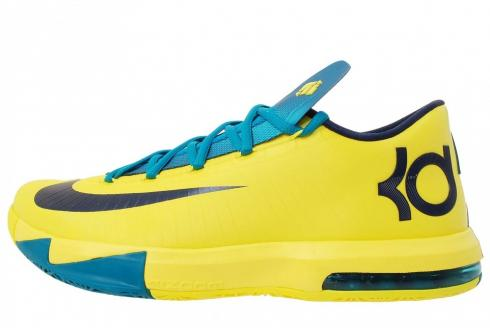 Nike KD 6 Seat Pleasant Sonic Yellow Midnight Navy Tropical Teal 599424-700