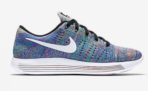 best sneakers 2dd18 d0b8d Nike Lunar Epic Low Flyknit Women Running Shoes Green Blue White 843765-004