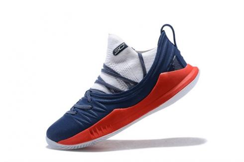 UA Curry 5 Under Armour Curry 5 Dark Blue White Red 3020657-406