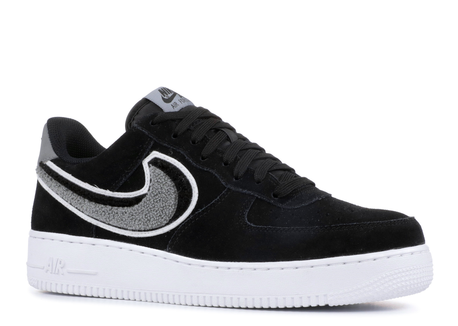 Air Force 1'07 Lv8 Chenille Swoosh Black Grey 823511-014