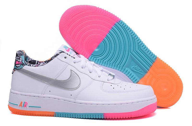 444e8cb0d9b Nike Air Force 1 Low GS White Rainbow Trainers Shoes 596728-100 - Febbuy