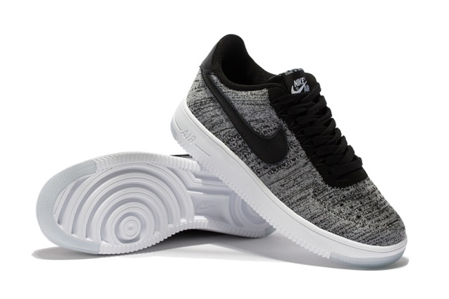 Nike Men Air Force 1 Low Ultra Flyknit Bright Grey Black LifeStyle Shoes 817419