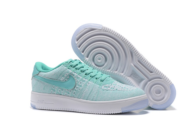 658147bb37 Nike Women Air Force 1 AF1 Flyknit Low Hyper Turquoise White Lifestyle  Shoes 820256-300