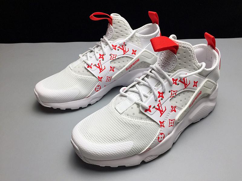 f38e5ab0f951 Nike Air Huarache 4 Run Ultra Black Superme White Red 819685-106 ...