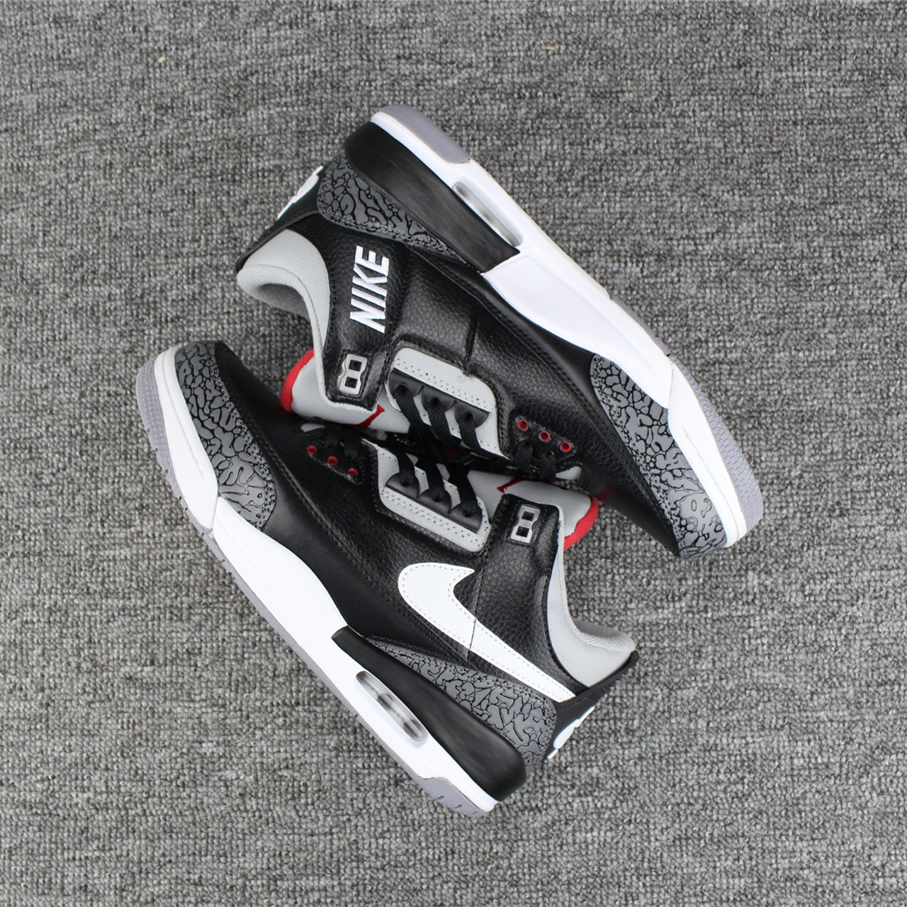 super popular 77f05 3fc5e Nike Air Jordan III 3 Retro Men Basketball Shoes Black Grey