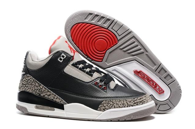 150f1893c101 Nike Air Jordan III 3 Retro Men Basketball Shoes Black Grey Cement ...