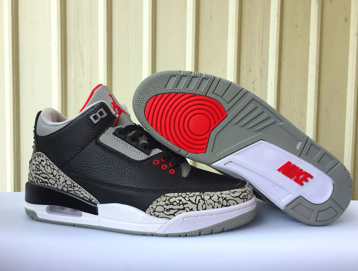 huge discount 86611 309d2 Nike Air Jordan III 3 Retro Men Basketball Shoes Grey Black Red