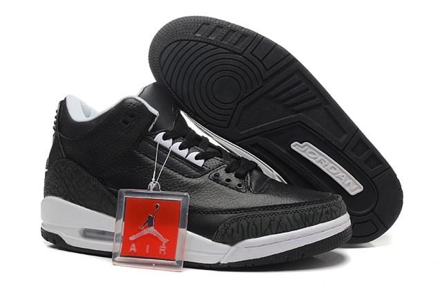 58a73f7d56e Nike Air Jordan III Retro 3 Men Shoes Black White 136064 - Febbuy