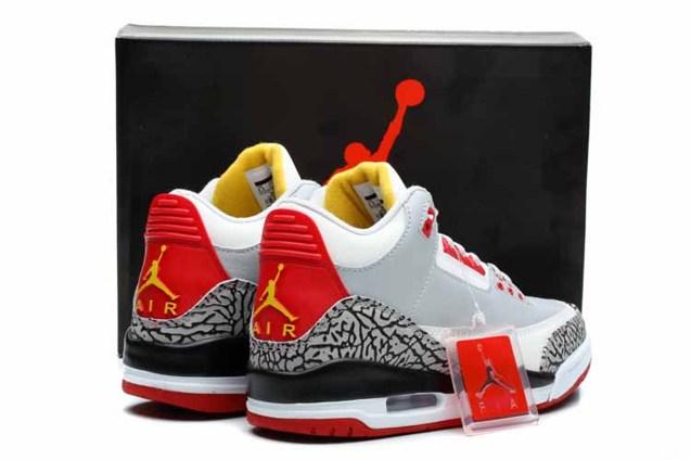 931afe2776c Nike Air Jordan III Retro 3 Men Shoes Grey White Red 136064 - Febbuy