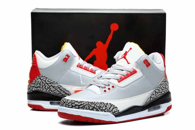 9301a7b02df Nike Air Jordan III Retro 3 Men Shoes Grey White Red 136064 - Febbuy