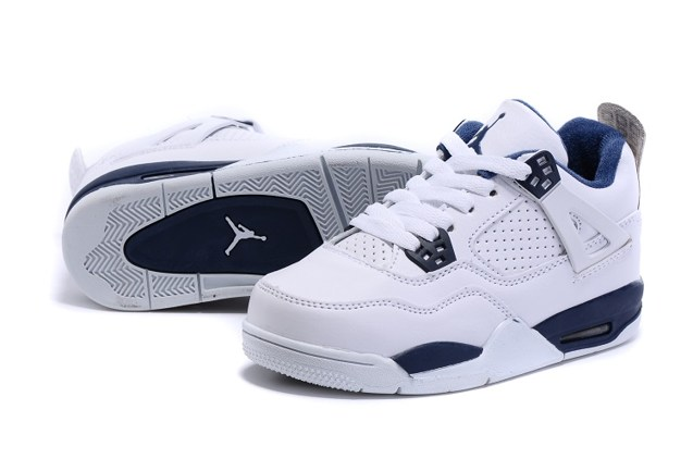 67779c27ee844a Nike Air Jordan 4 Retro BG Legend Blue Youth Kid Shoes 408452 107 ...