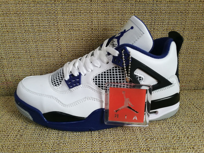 d5643cdd2c955b Prev Nike Air Jordan 4 Retro IV AJ4 Motorsports White Game Royal Blue Men  Shoes 308497-. Zoom