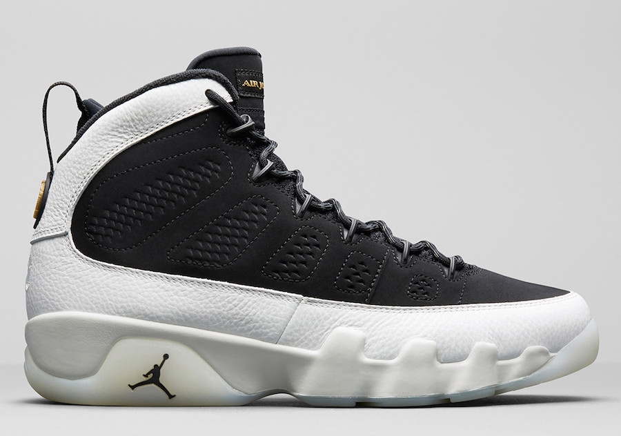 e4b2f5942e1026 Air Jordan 9 City Of Flight Black Summit White Black Metallic Gold 302370  021 ...