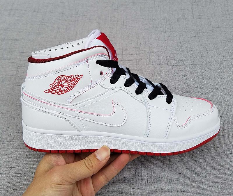 purchase cheap dc1cf dfa6b ... Nike Air Jordan I 1 Retro White Black Red Women Shoes. Zoom