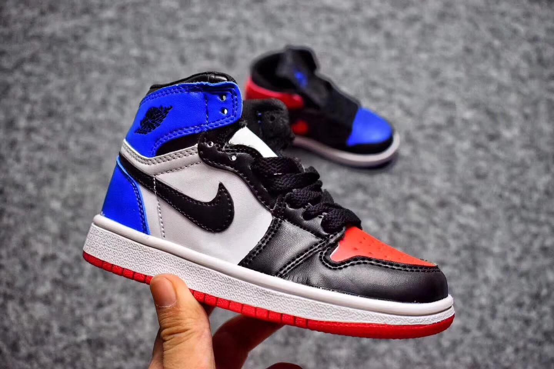 a258c227a60 Nike Air Jordan I 1 Retro Kid Shoes Black White Blue Red 575441 - Febbuy