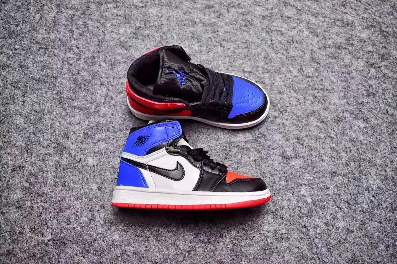 b84fa36c8c4778 Nike Air Jordan I 1 Retro Kid Shoes Black White Blue Red 575441 - Febbuy