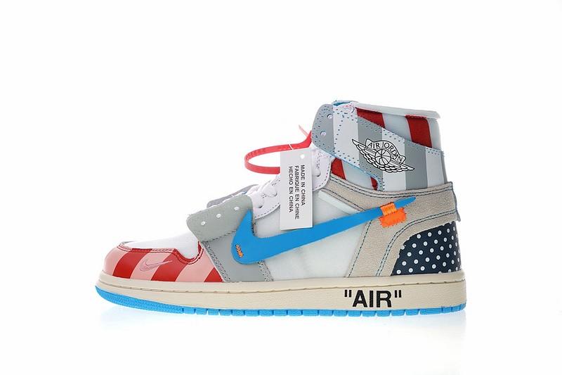 266f21cd9b8427 Prev Parra x Off White x Air Jordan 1 High Custom Blue White Red AA3834-108