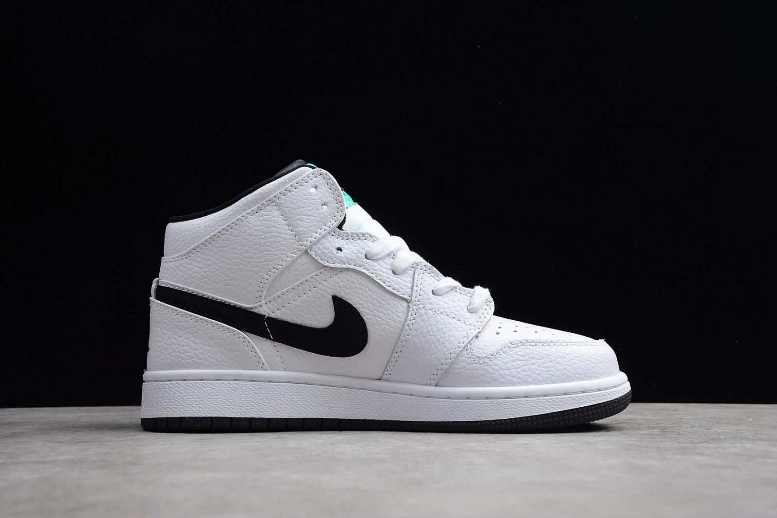 67fbebc5e186fa Nike Air Jordan 1 Mid GS Hyper Jade AJ1 Black White Green 554725-122 ...