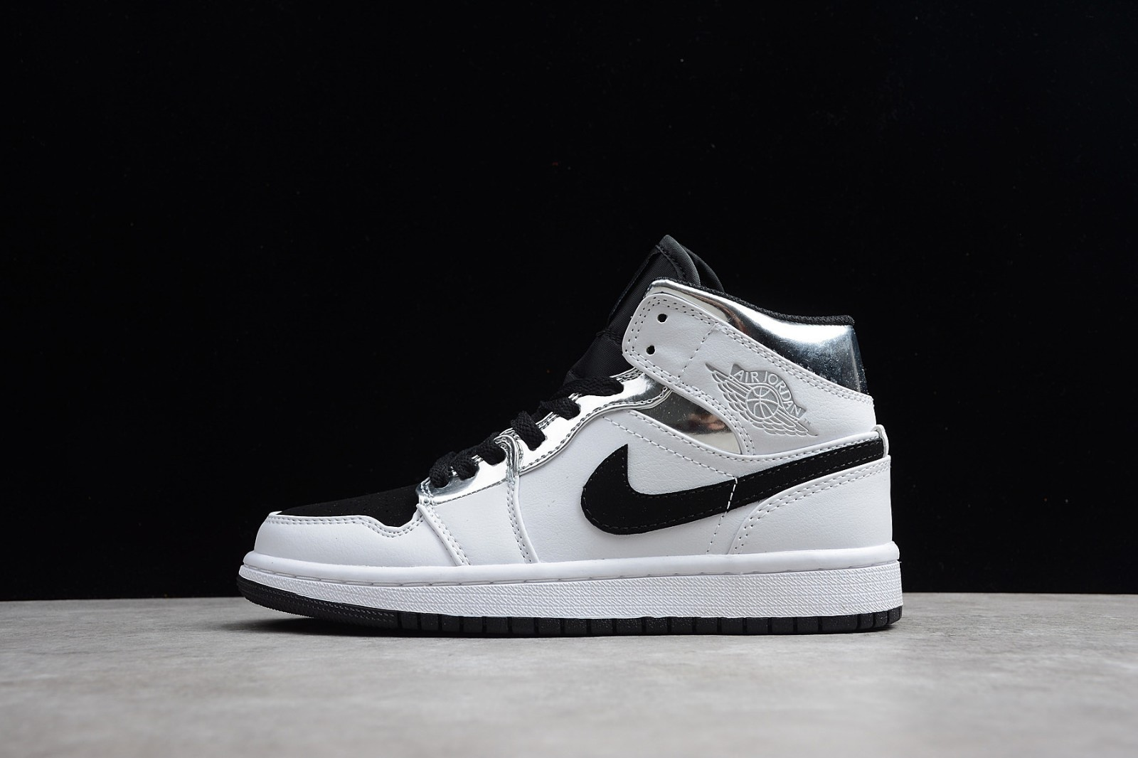 ec59ad6cbe36b5 Prev Nike Air Jordan 1 Mid White Silver Black 554724-121. Zoom. Move your  mouse over image or click to enlarge. Next. CLICK IMAGE TO ENLARGE