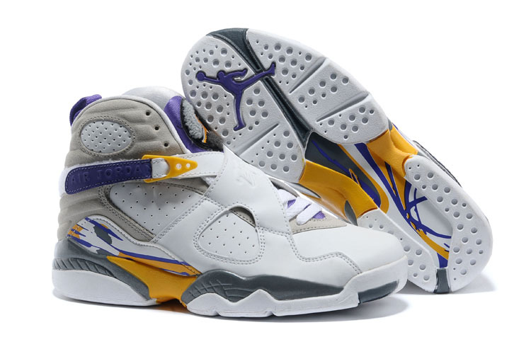 5e2625b7f7a2c7 Prev Nike Air Jordan Retro 8 VIII white yellow purple men women basketball  Shoes. Zoom