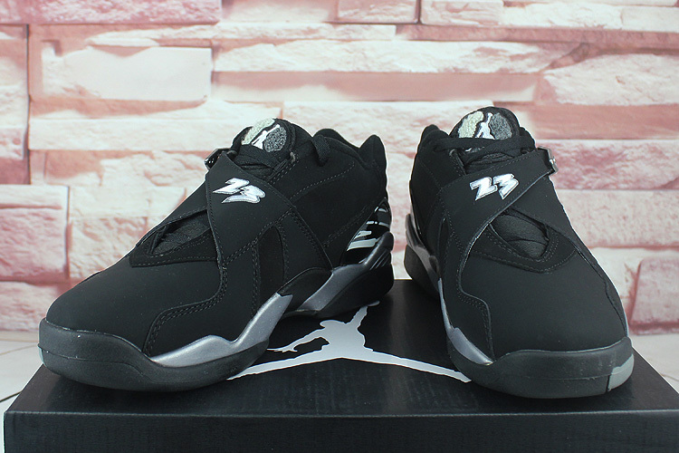 huge selection of f7486 fea30 ... Nike Air Jordan Retro 8 Low Black Grey White Concord Men Basketball  Shoes 305381-003 ...