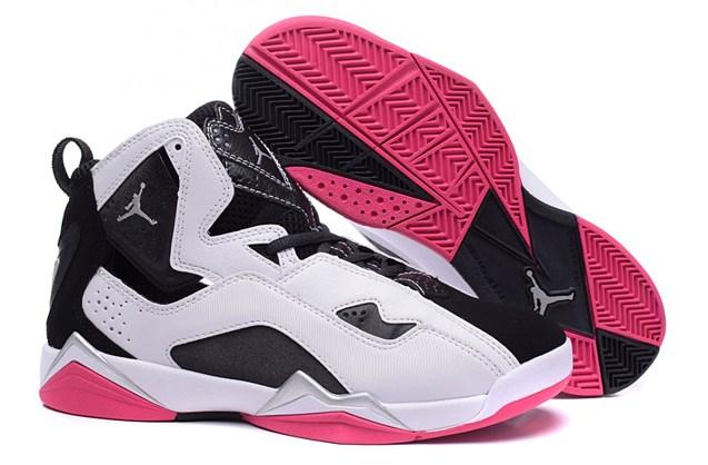 52126518c4d4d9 Nike Air Jordan True Flight Shoes White Black Pink 342774 142 - Febbuy