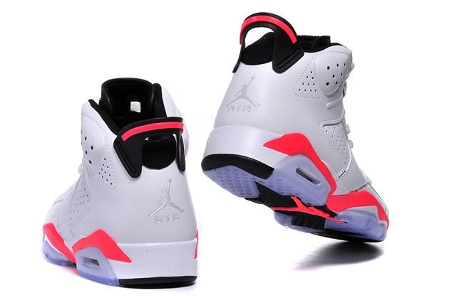 Nike Air Jordan 6 VI Retro BG White Infrared Black Women Shoes 384665 123 80456c2111