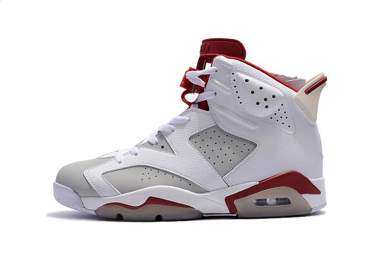 f68d3a4ec715e4 Nike Air Jordan Retro 6 VI ALTERNATE Hare White Platinum Red Men Shoes  384664-113 ...