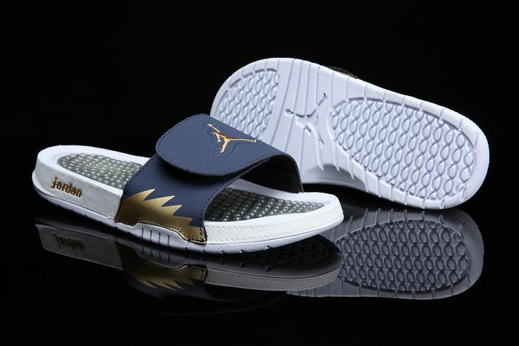 7bf24a0d8 Nike Jordan Hydro 6 white deep blue gold men Sandal Slides Slippers ...