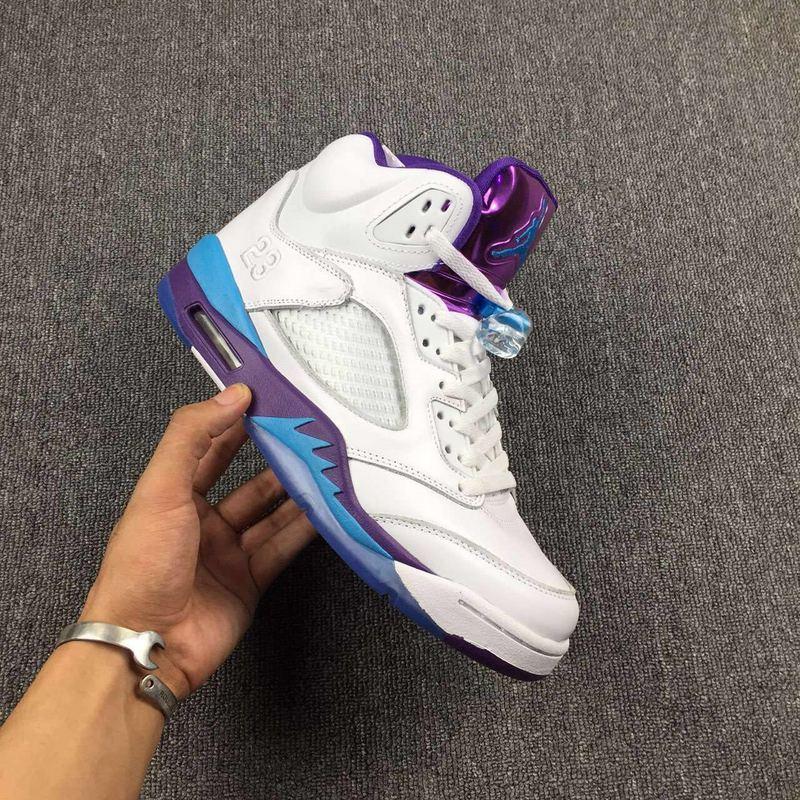 6bdcaaf9a9502f Nike Air Jordan V 5 High Retro White Purple Blue Unisex Shoes - Febbuy