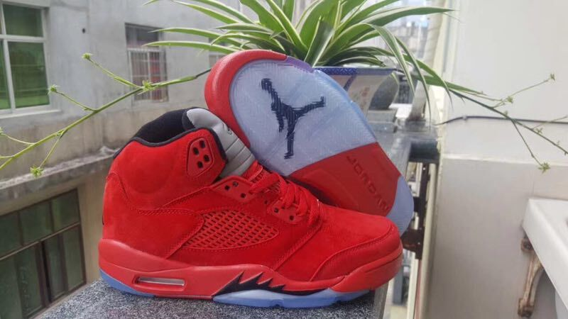 info for 083d5 db6ee Nike Air Jordan V 5 Retro Kid Basketball Shoes Chinese Red All Black