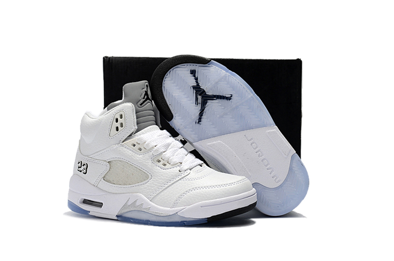 Shoes V 5 Retro Basketball Kid Children Nike White Air Jordan All Black sQrdCth